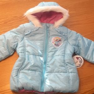 NWTMy little pony size 4T winter jacket w faux fur